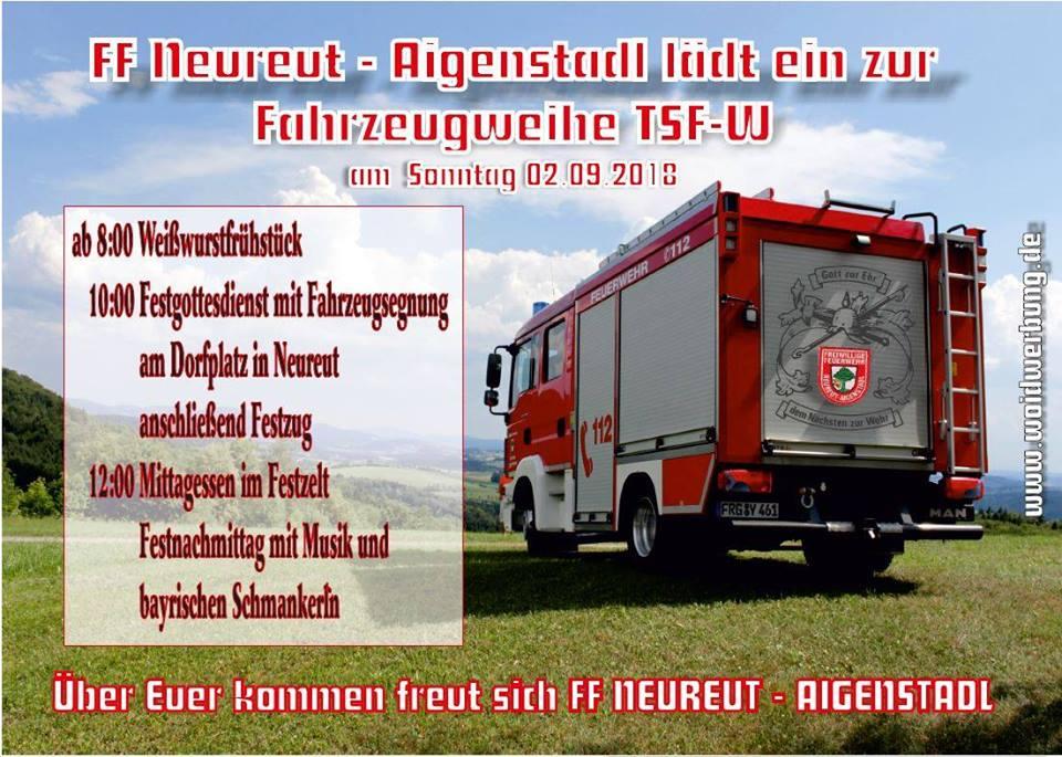 Fahrzeugweihe TSF-W | Feuerwehr Neureut – Aigenstadl