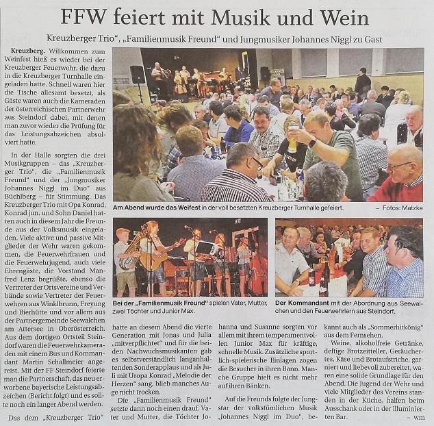 Pressebericht zum Weinfest 2019 - Quelle: PNP 25.10.2019