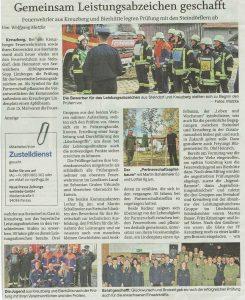 Pressebericht Leistungsabzeichen 2019 - Quelle: PNP 28.10.2019
