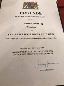 Feuerwehr Ehrenzeichen - Urkunde Lothar Ilg