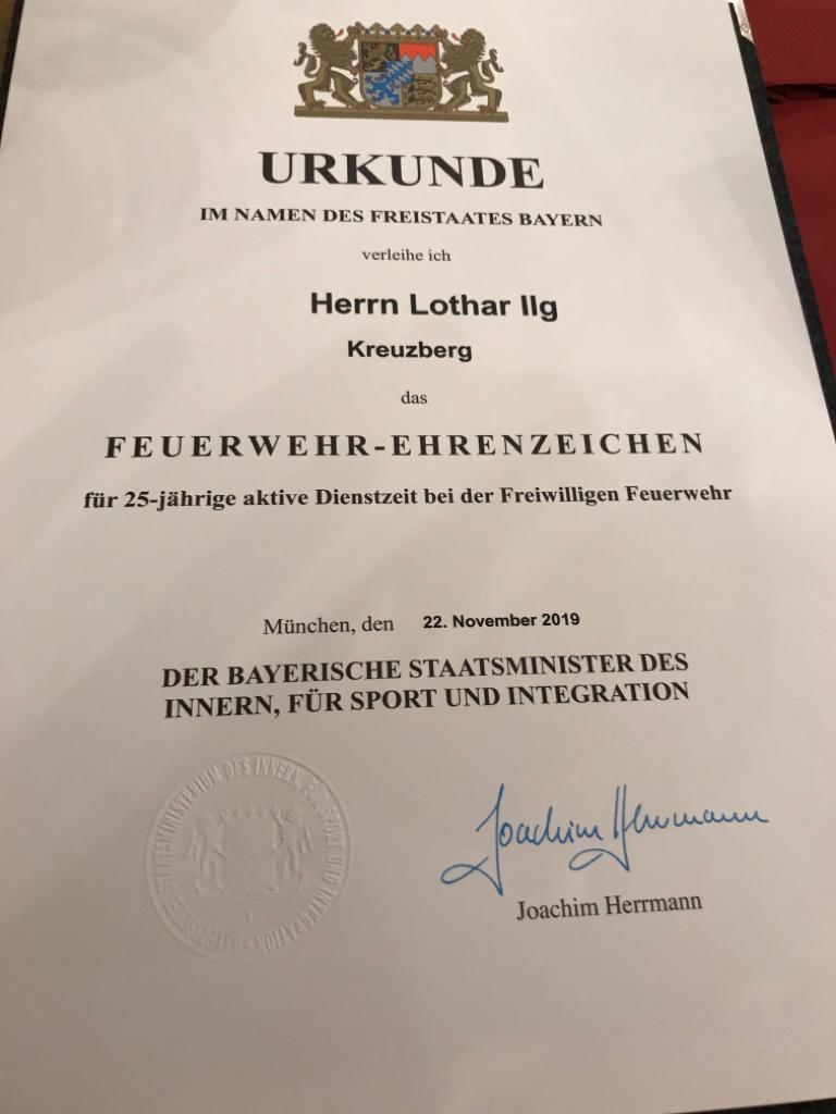 Feuerwehr Ehrenzeichen – Urkunde Lothar Ilg