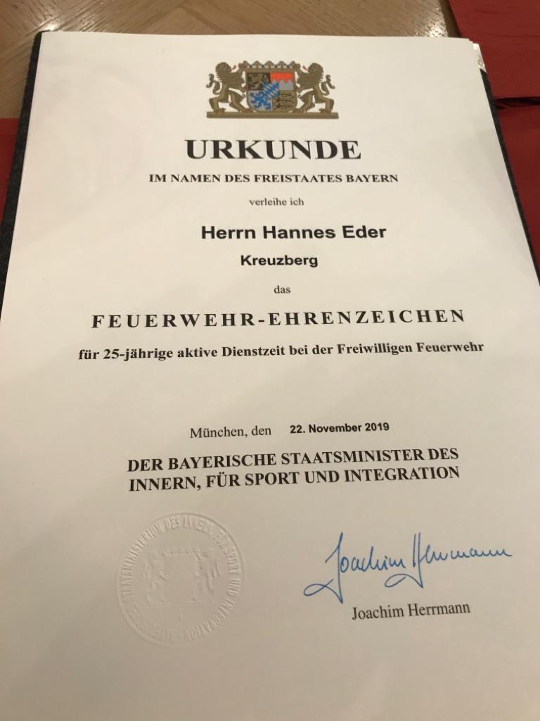 Feuerwehr Ehrenzeichen - Urkunde Hannes Eder