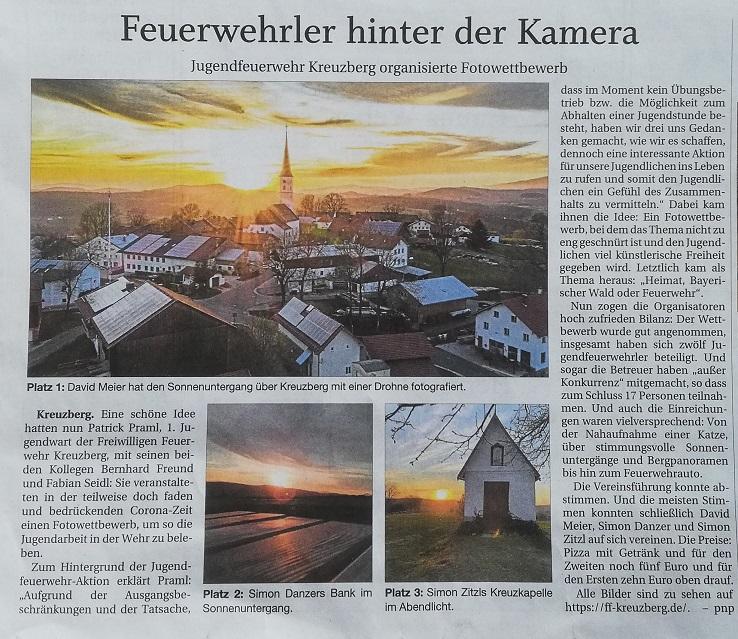 Pressebericht – Fotowettbewerb Jugendfeuerwehr (Quelle: PNP 05.05.2020)
