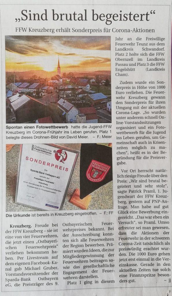 FF Kreuzberg - PNP Bericht - Sonderpreis 2020