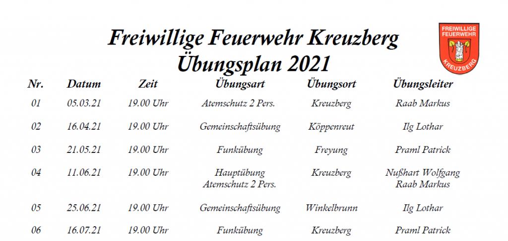 FF Kreuzberg - Übungsplan 2021 - Ausschnitt