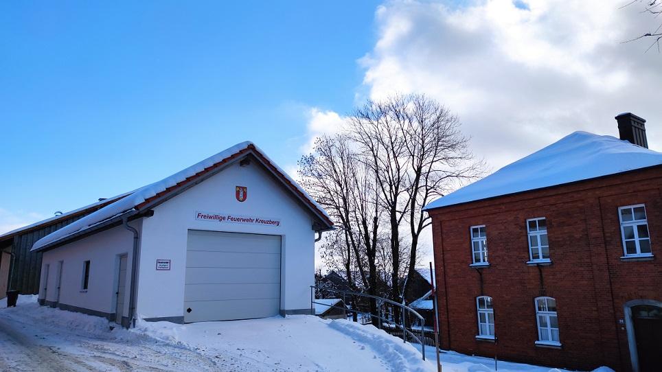 FF Kreuzberg - MTW Garage im Winter