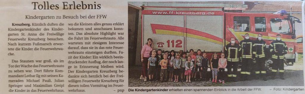 FF Kreuzberg - Pressebericht Kindergartenbesuch 2021