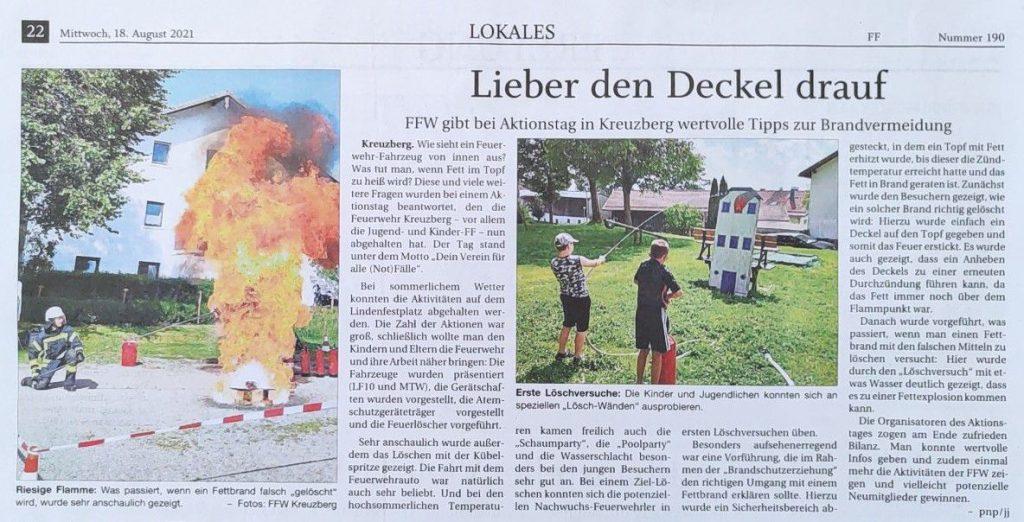 FF Kreuzberg - Pressebericht PNP - Aktionstag 2021 - 18.08.2021