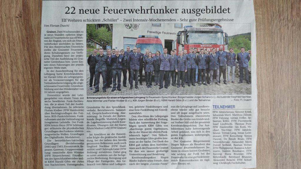 FF Kreuzberg - PNP Bericht 20.09.2021 - Funklehrgang 2021 in Grainet