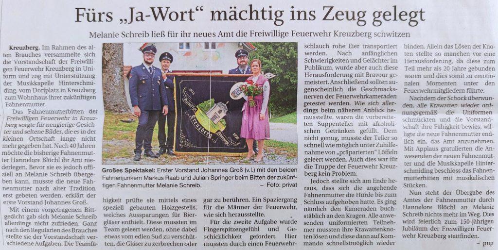 FF Kreuzberg - PNP Bericht - Fahnenmutterbitten - 05.10.2021